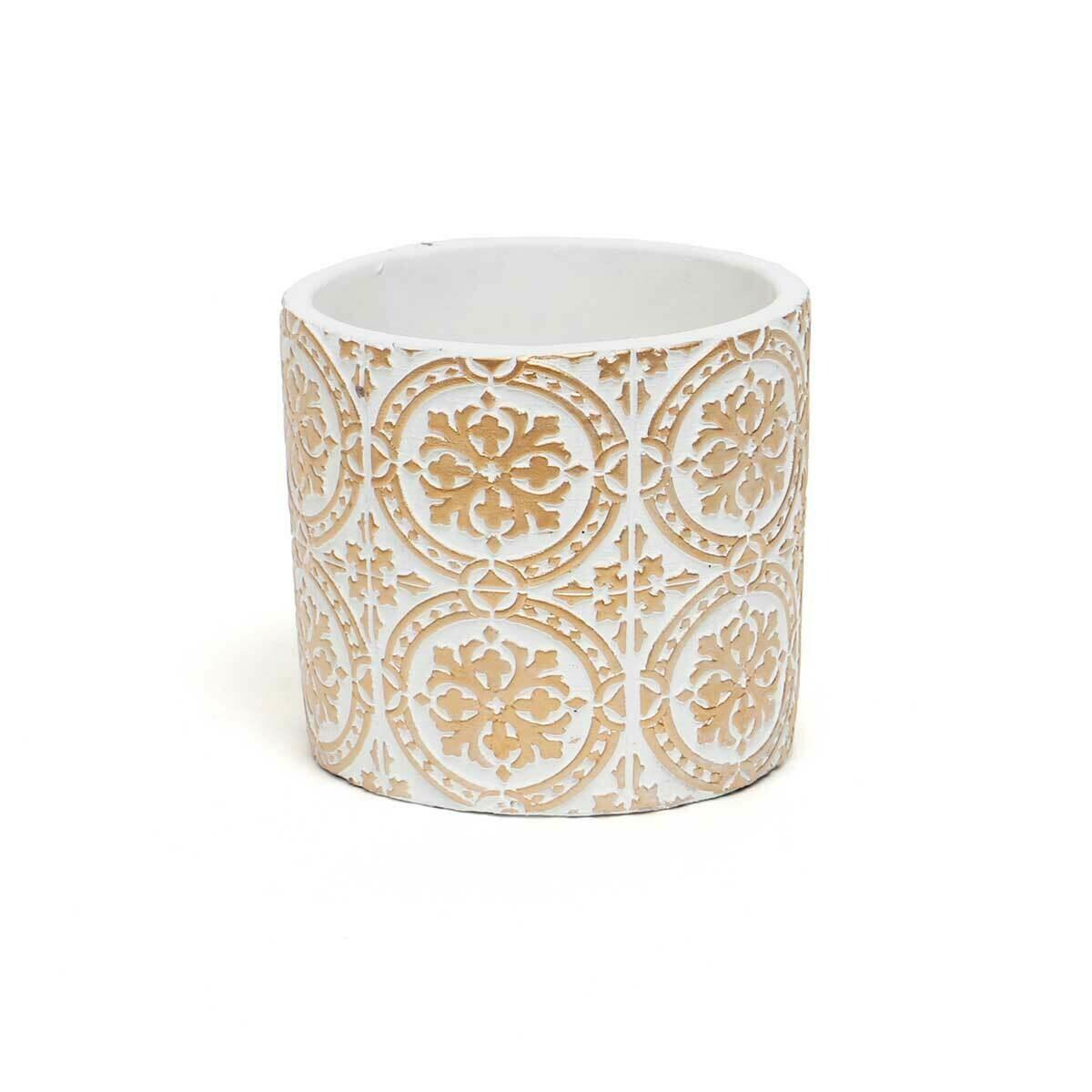 "Snowflake Concrete Pot - White & Beige - Small - 4.5""H x4.25"""