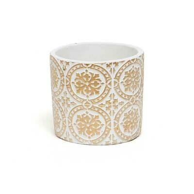 Snowflake Concrete Pot - White & Beige - Small - 4.5