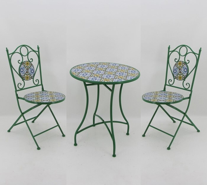 "Mosaic Tile Outdoor Bistro Set - Bright Green, Blue & Yellow - 24""Dia Table & 2 Chairs"