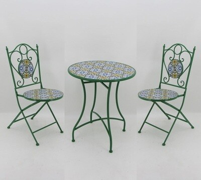 Mosaic Tile Outdoor Bistro Set - Bright Green, Blue & Yellow - 24