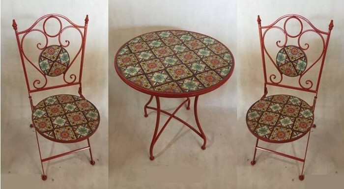 """Mosaic Tile Outdoor Bistro Set - Dark Red, Bright Green & Tan - 24""""Dia Table & 2 Chairs"""