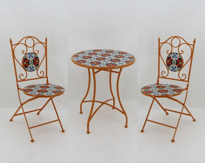 "Mosaic Tile Outdoor Bistro Set - Bright Red, Blue & White - 24""Dia Table & 2 Chairs"