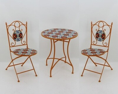 Mosaic Tile Outdoor Bistro Set - Orange, Blue & White - 24