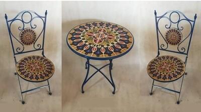 Mosaic Tile Outdoor Bistro Set - Navy, Orange & Mustard - 24