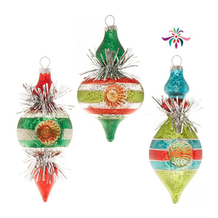 """Tinsel Finial Ornament - Blue & Red - 5.5""""H"""