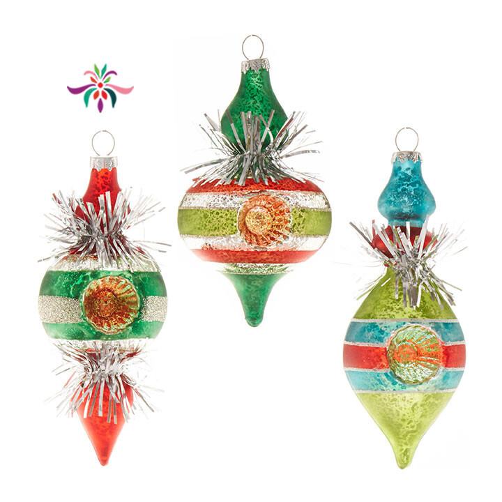 """Tinsel Finial Ornament - Red & Green - 5.5""""H"""