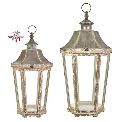 Tapered Lantern - White Painted Iron - Small - 27.75