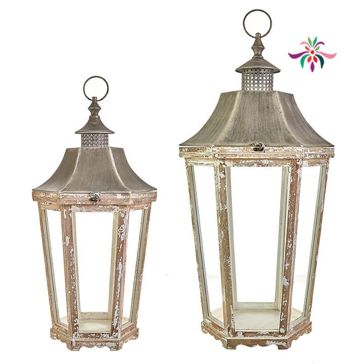 """Tapered Lantern - White Painted Iron - Large - 33.75""""H"""