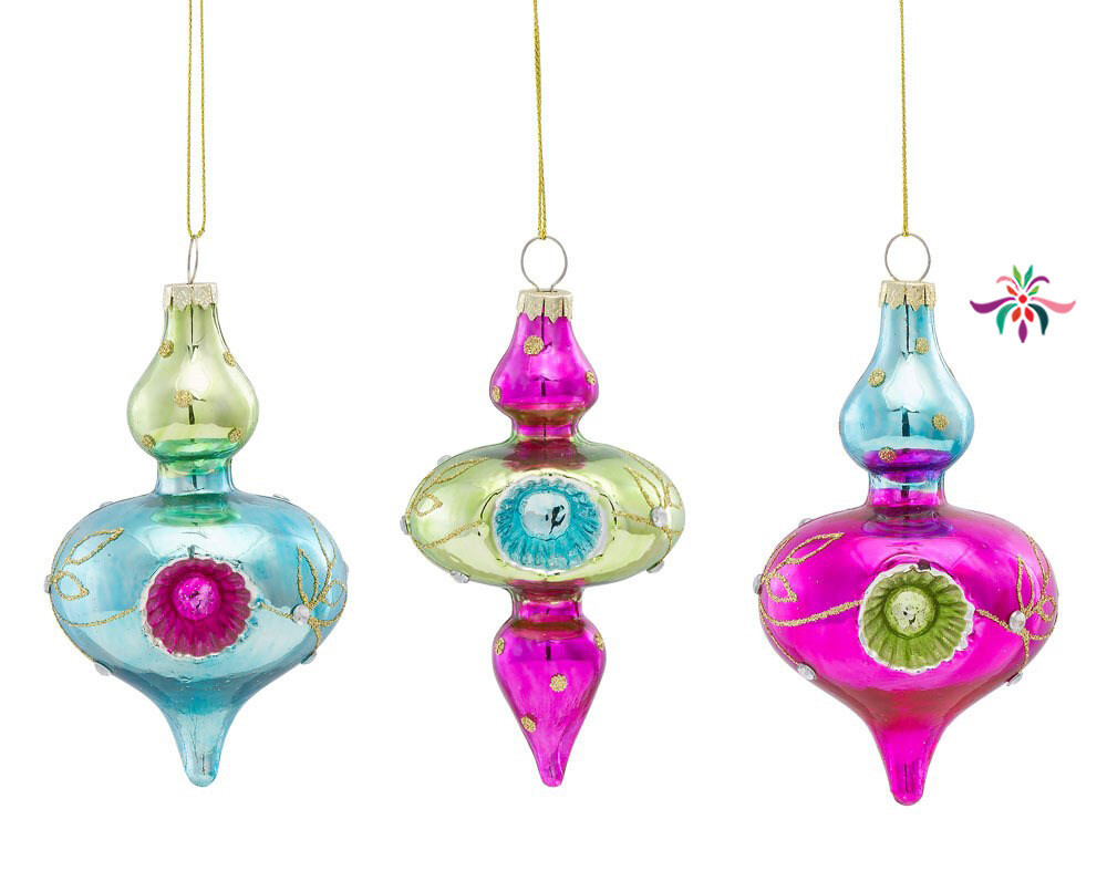 "Multicolor Reflector Ornament - Pink - 5""L"