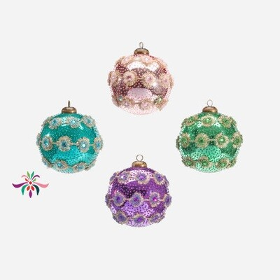 Spiny Trim Ball Ornament - Turquoise - 4
