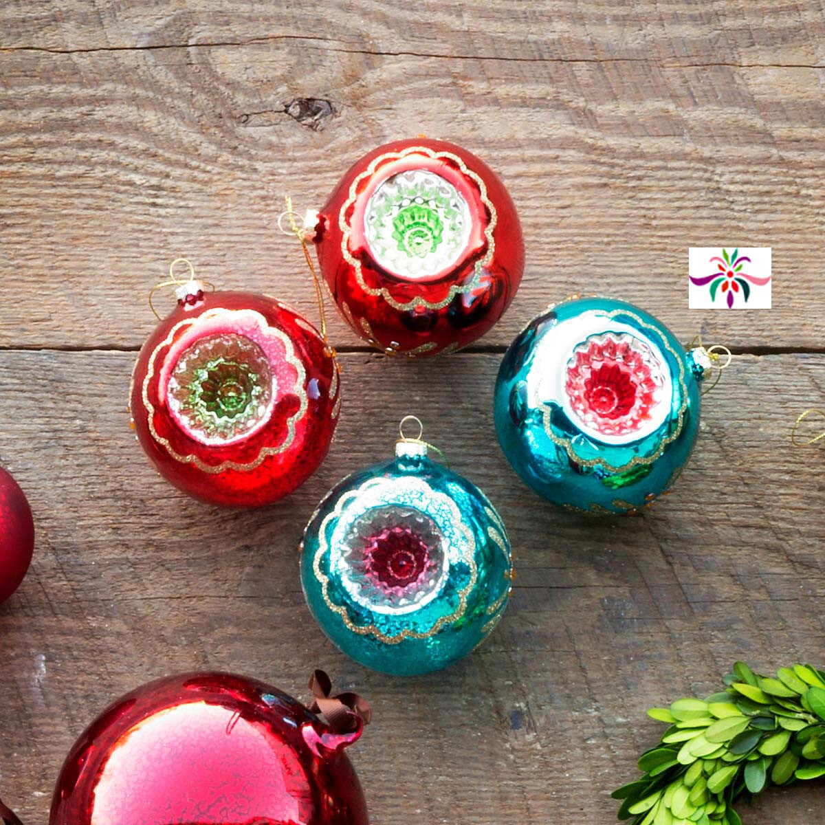 "Glass Reflector Ornament - Green & Red - 4""Dia"