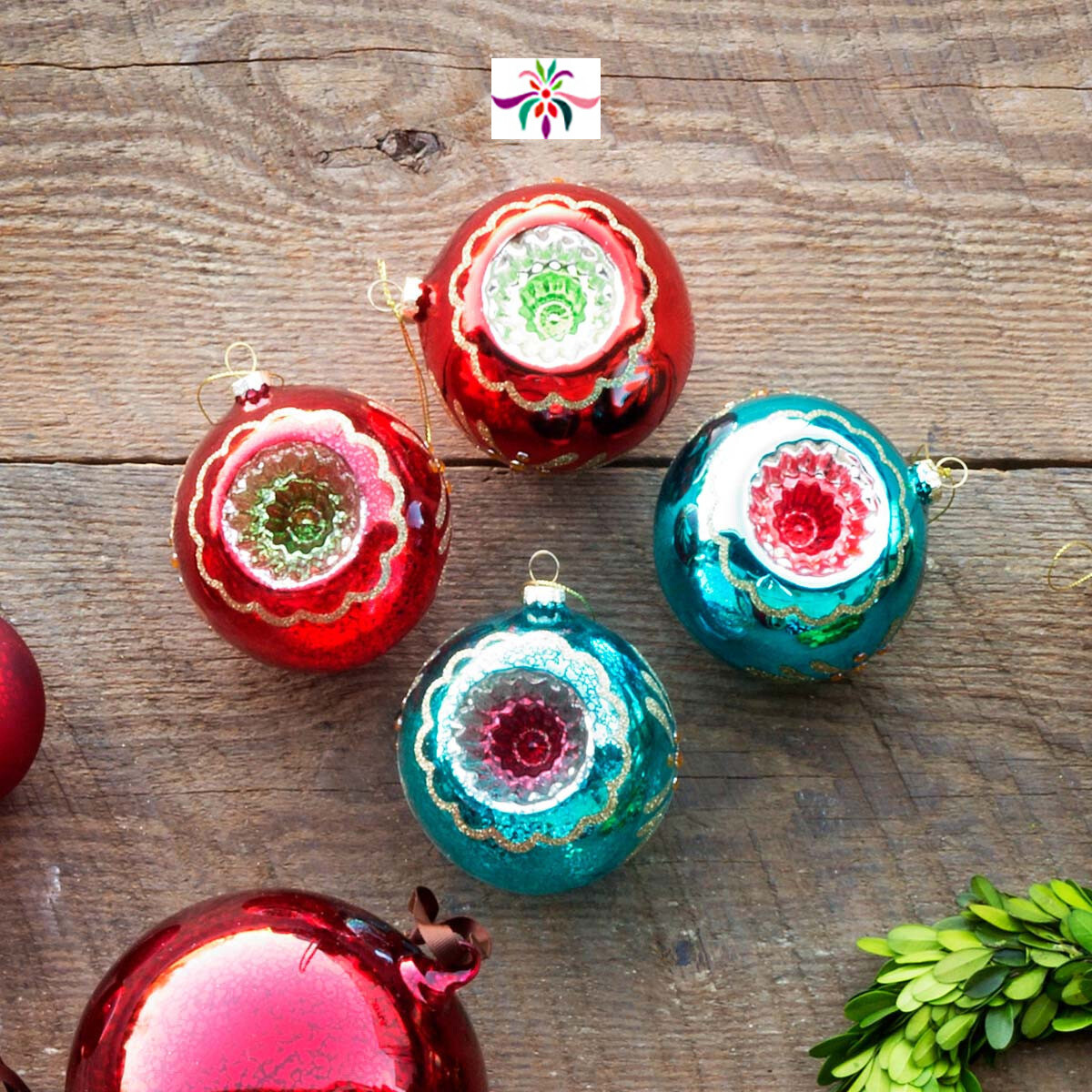 """Glass Reflector Ornament - Red & Silver - 4""""Dia"""