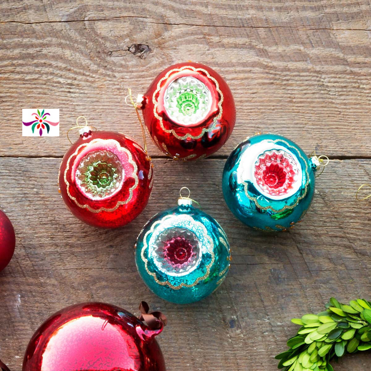 "Glass Reflector Ornament - Red & Green - 4""Dia"