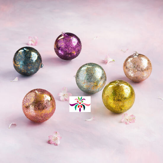 "Stubble Glass Ball Ornamant - Aqua - 6""Dia"
