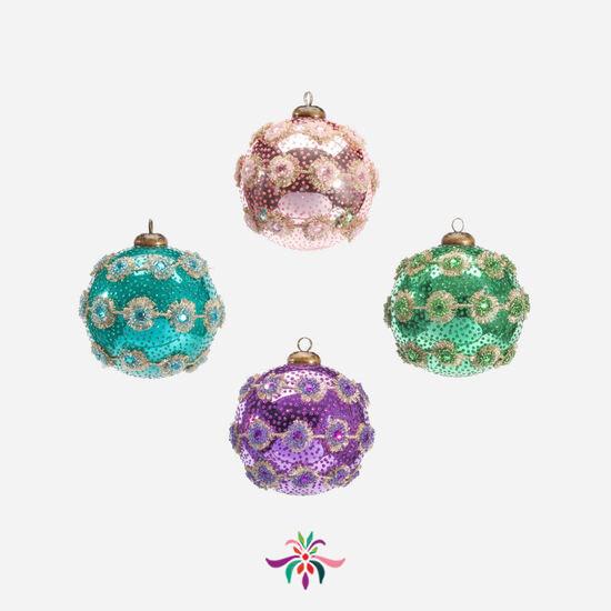 """Spiny Trim Ball Ornament - Purple - 4""""Dia"""