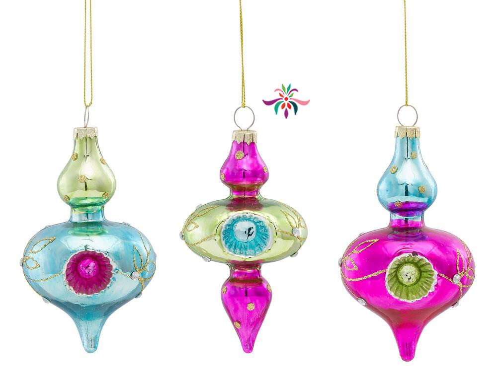 """Multicolor Reflector Ornament - Green - 5""""L"""