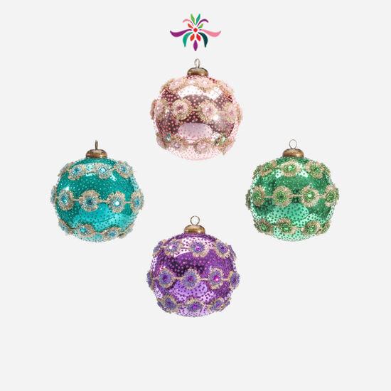 """Spiny Trim Ball Ornament - Blush - 4""""Dia"""