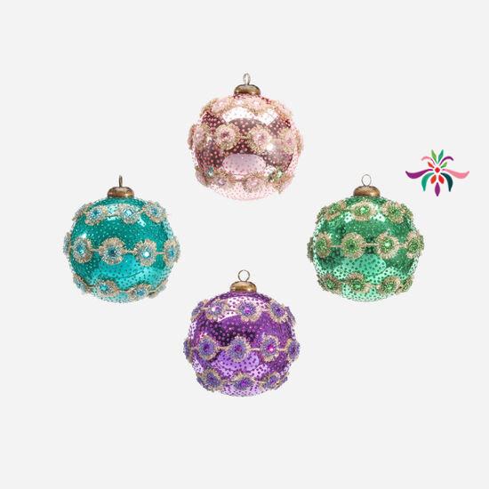 """Spiny Trim Ball Ornament - Green - 4""""Dia"""