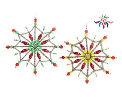 Star Ornament - Yellow & Red - 7.25