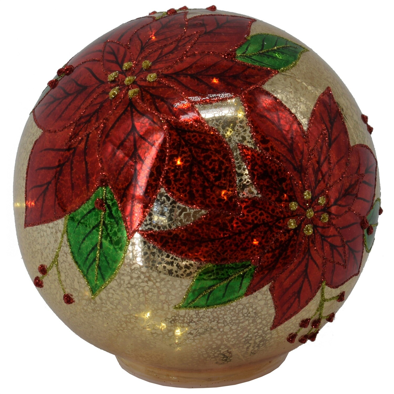 "Poinsettia Ball - Red & Gold Glass - Warm White LED - Large - 7""Dia"