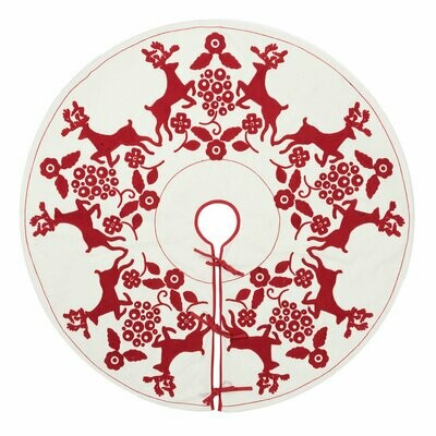 Christmas Tree Skirt - White & Red - 60