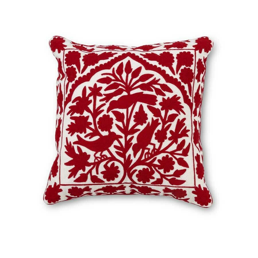 """Embroidered Pillow - Red on White - 19""""Sq"""