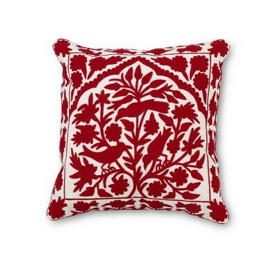 Embroidered Pillow - Red on White - 19