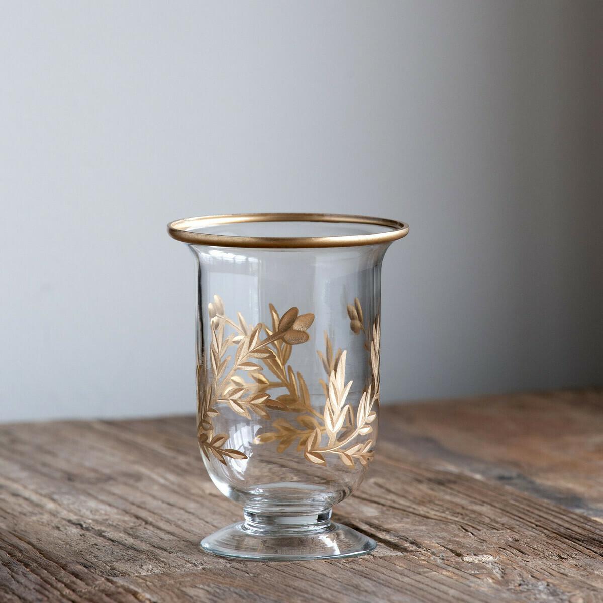 Golden Leaf Footed Vase