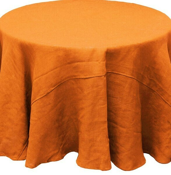 "Burlap Tablecloth - Butternut - 96""Dia"