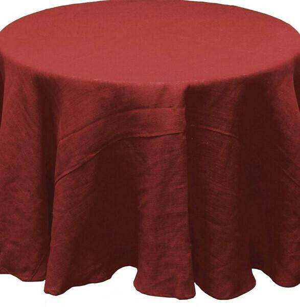 """Burlap Tablecloth - Rust - 96""""Dia"""