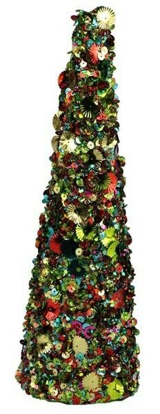 """Sequin Glitter Cone - Multicolor - Small - 12""""H x 3.5""""W"""