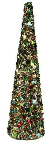 "Sequin Glitter Cone - Multicolor - Large - 18""H x 5""H"