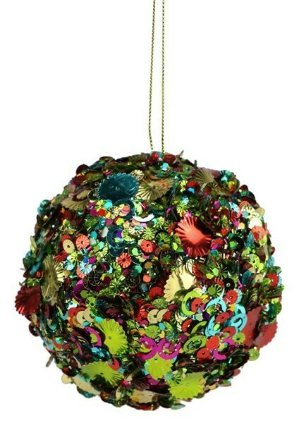 "Sequin Glitter Ornament - Multicolor - Small - 3.9""Dia"