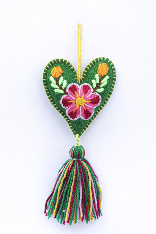 Small Heart Ornament - Green