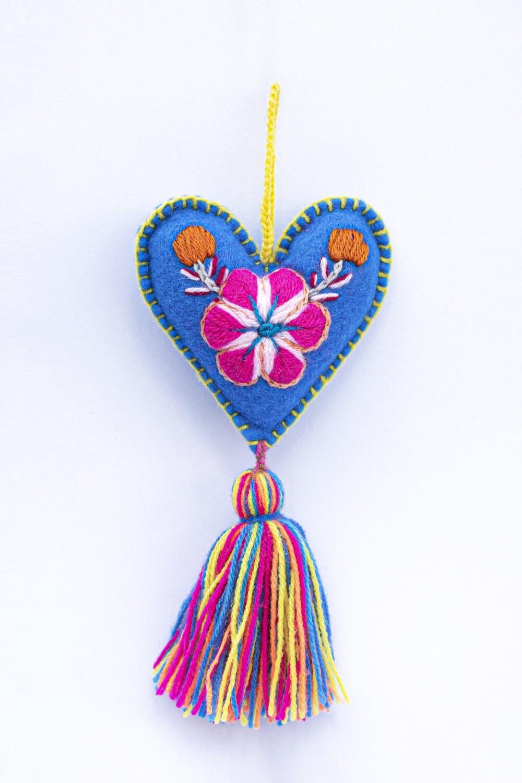 Small Heart Ornament - Blue