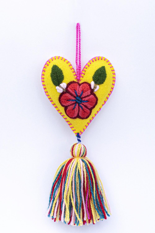 Small Heart Ornament - Yellow