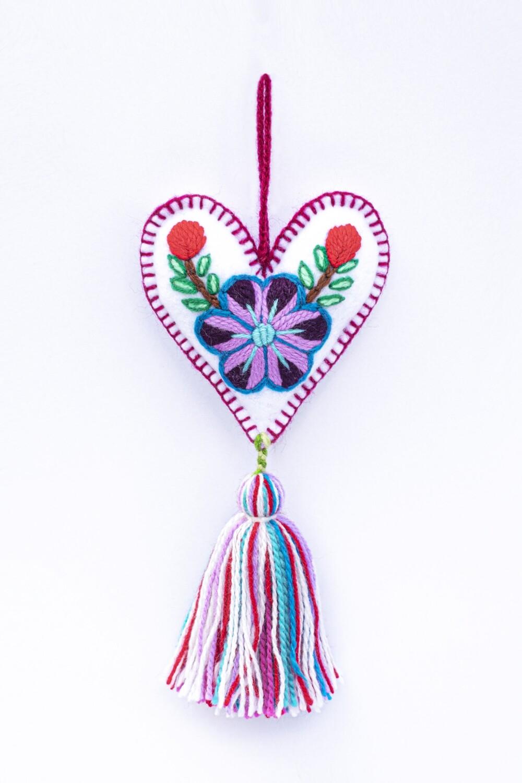 Small Heart Ornament - White