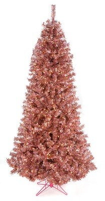 Rose Tinsel Tree - 7.5'H