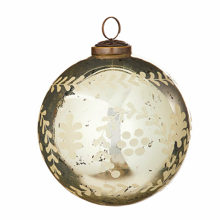 "Etched Glass Ball Ornament - Antique Gold - 4.75""Dia"