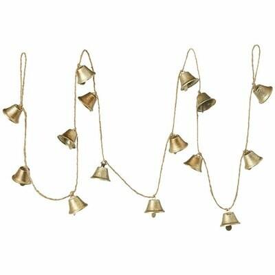 Gold Metal Bell Garland - 6'L