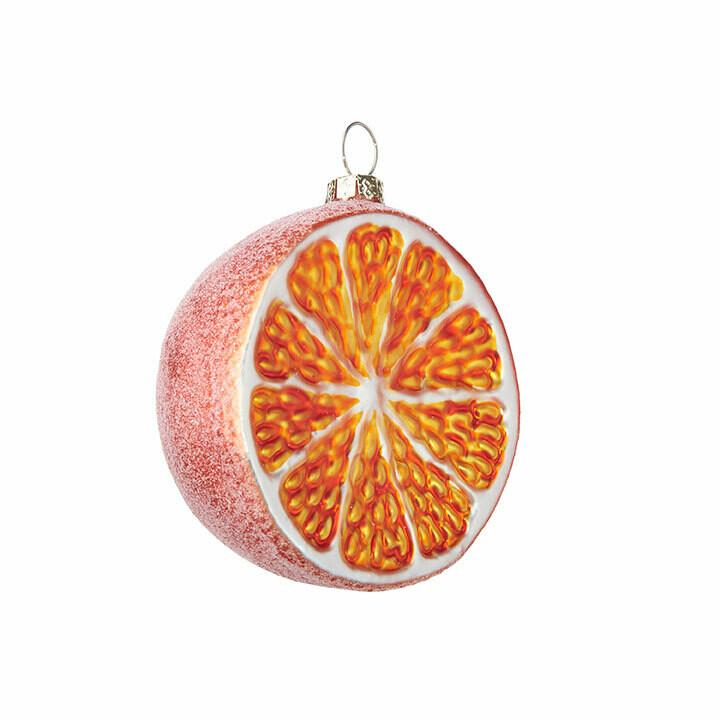 """Glittered Orange Ornament - 3""""Dia"""
