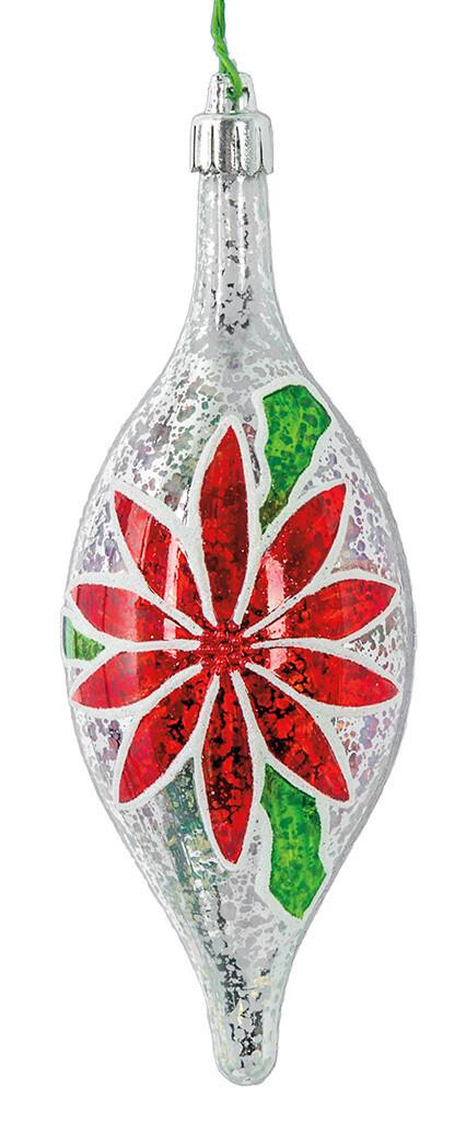 "Poinsettia Finial Ornament - Red, White & Green - 6""L"