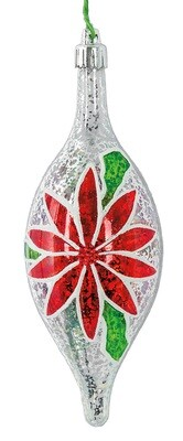 Poinsettia Finial Ornament - Red, White & Green - 6