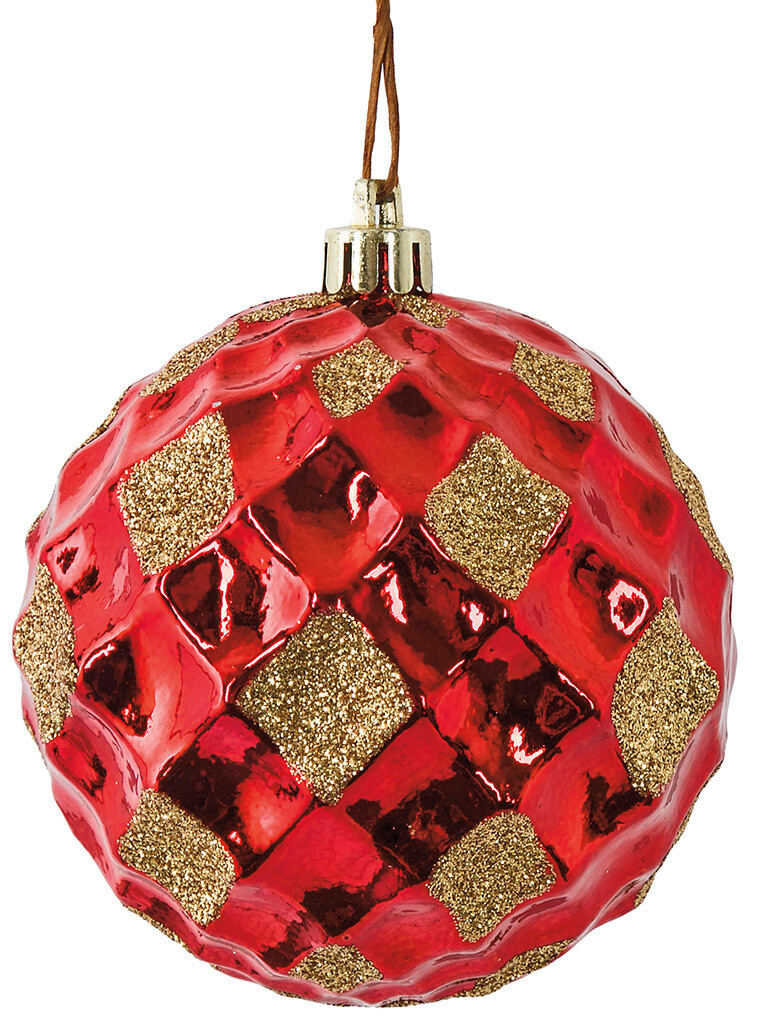"""Reflective Grid Ball Ornament - Red & Gold - 3""""Dia"""