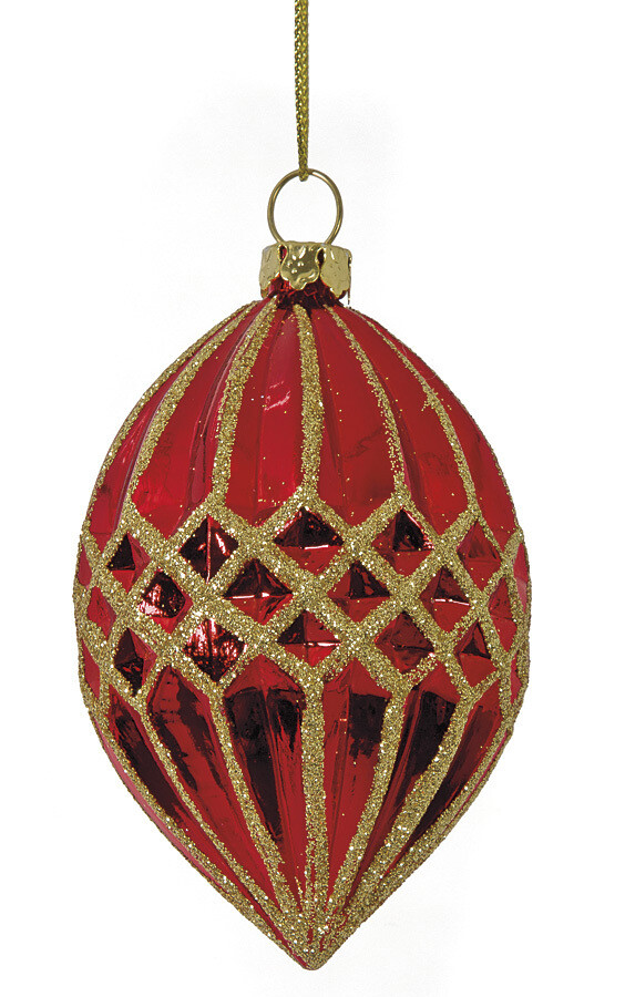 """Reflective Finial Ornament - Red & Gold - 3.5""""L"""