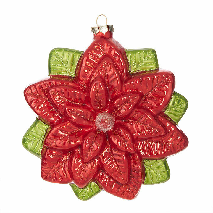 "Glass Poinsettia Ornament - Red & Green - 6.5""H"