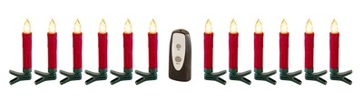 Red Clip-on Candles - Warm White LED - Set of 12