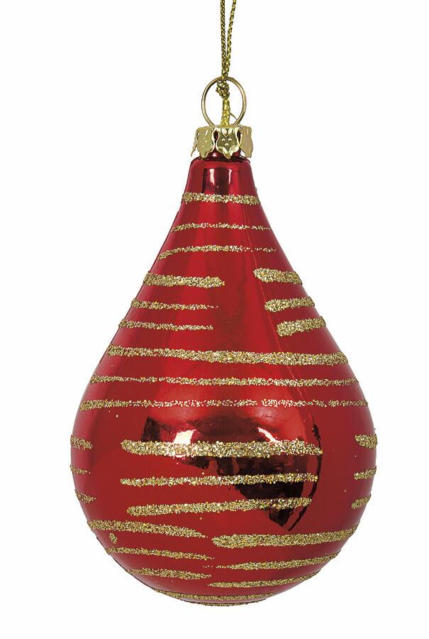 """Reflective Drop Ornament - Red & Gold - 3.5""""L"""