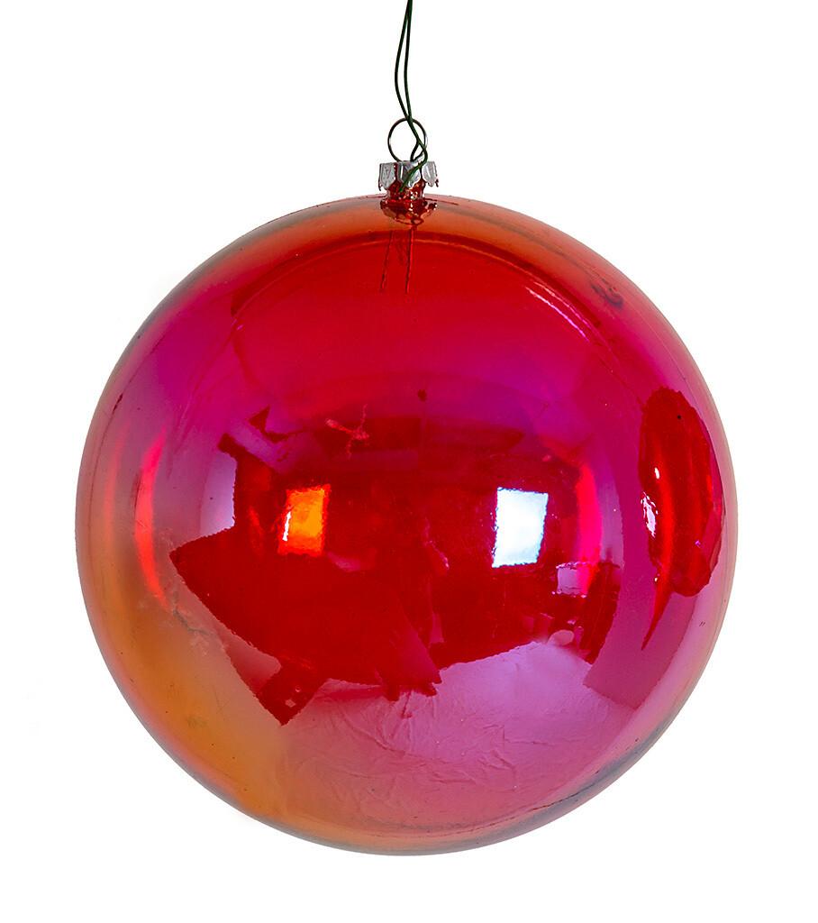 "Ball Ornament - Iridescent Red - 6""Dia"
