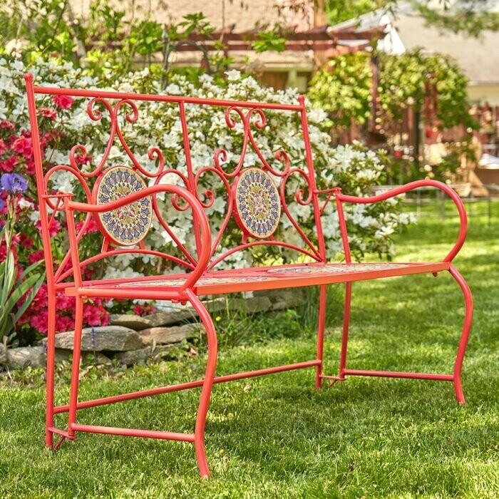 Garden Bench #3 - Dark Red, Bright Green & Tan Mosaic Tile